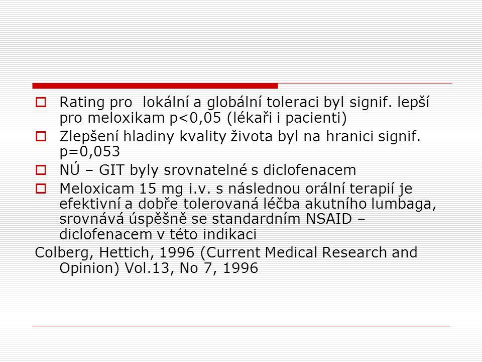  Rating pro lokální a globální toleraci byl signif. lepší pro meloxikam p<0,05 (lékaři i pacienti)  Zlepšení hladiny kvality života byl na hranici s