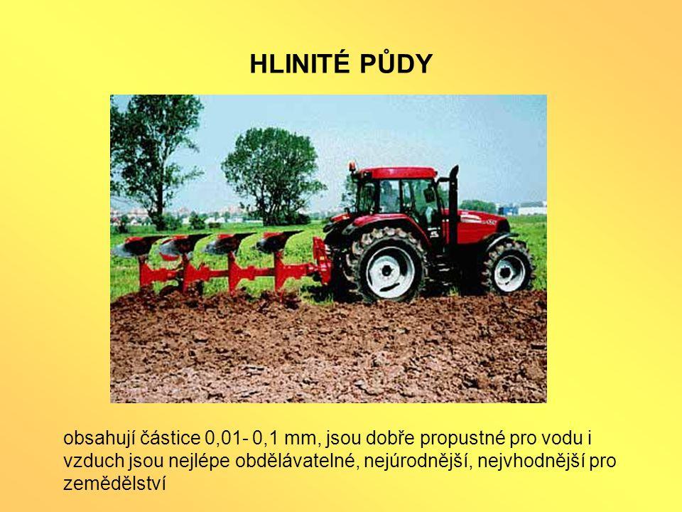 HLINITÉ PŮDY obsahují částice 0,01- 0,1 mm, jsou dobře propustné pro vodu i vzduch jsou nejlépe obdělávatelné, nejúrodnější, nejvhodnější pro zemědělství
