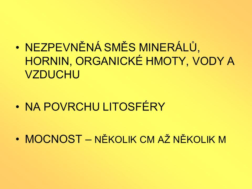 SLOŽKY PŮDY pevná anorganická složka (nerosty, horniny) = PŮDOTVORNÝ SUBSTRÁT (ZVĚTRALÁ MATEČNÁ HORNINA) pevná organická složka (HUMUS) kapalná složka (půdní voda) plynná složka (kyslík, dusík,…) živá složka ( PŮDNÍ EDAFON = půdní organismy)