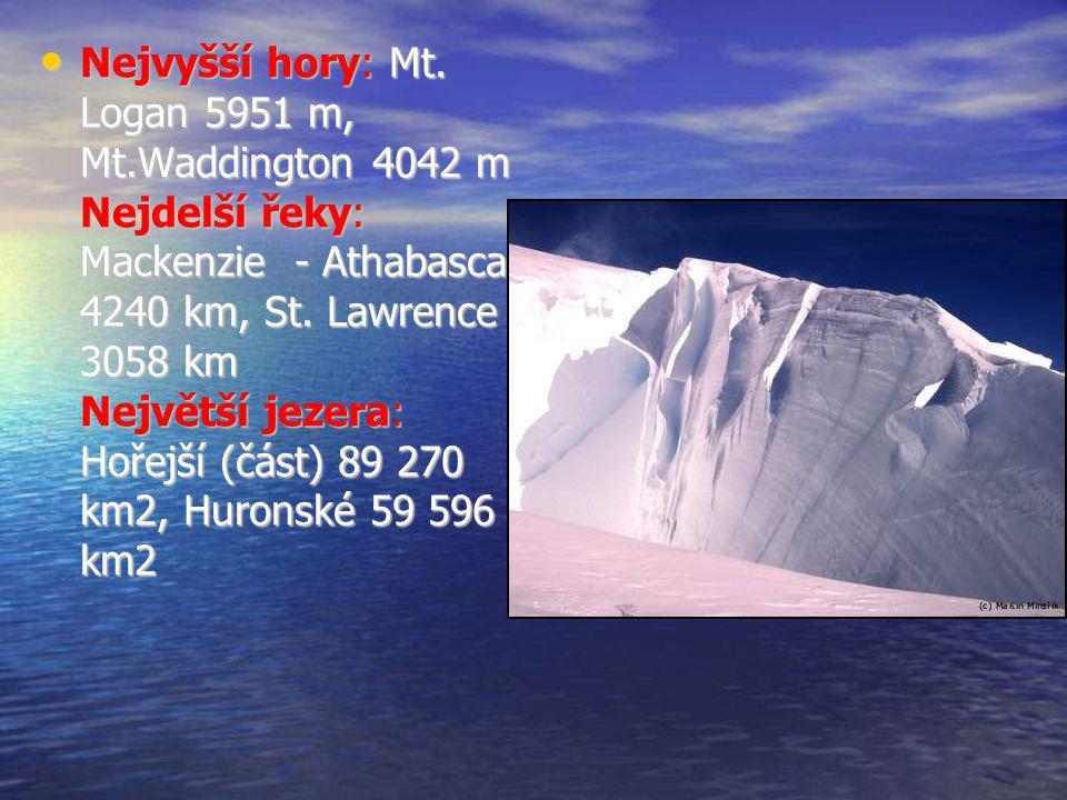 Nejvyšší hory: Mt. Logan 5951 m, Mt.Waddington 4042 m Nejdelší řeky: Mackenzie - Athabasca 4240 km, St. Lawrence 3058 km Největší jezera: Hořejší (čás