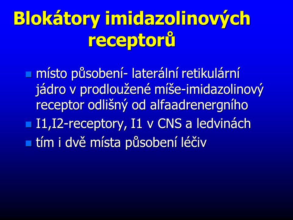 Blokátory imidazolinových receptorů n místo působení- laterální retikulární jádro v prodloužené míše-imidazolinový receptor odlišný od alfaadrenergního n I1,I2-receptory, I1 v CNS a ledvinách n tím i dvě místa působení léčiv