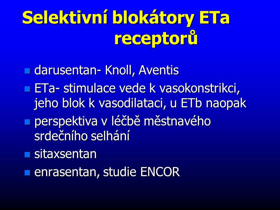 Selektivní blokátory ETa receptorů n darusentan- Knoll, Aventis n ETa- stimulace vede k vasokonstrikci, jeho blok k vasodilataci, u ETb naopak n perspektiva v léčbě městnavého srdečního selhání n sitaxsentan n enrasentan, studie ENCOR