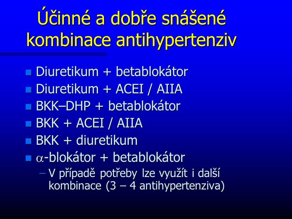 Účinné a dobře snášené kombinace antihypertenziv n Diuretikum + betablokátor n Diuretikum + ACEI / AIIA n BKK–DHP + betablokátor n BKK + ACEI / AIIA n BKK + diuretikum n  -blokátor + betablokátor –V případě potřeby lze využít i další kombinace (3 – 4 antihypertenziva)