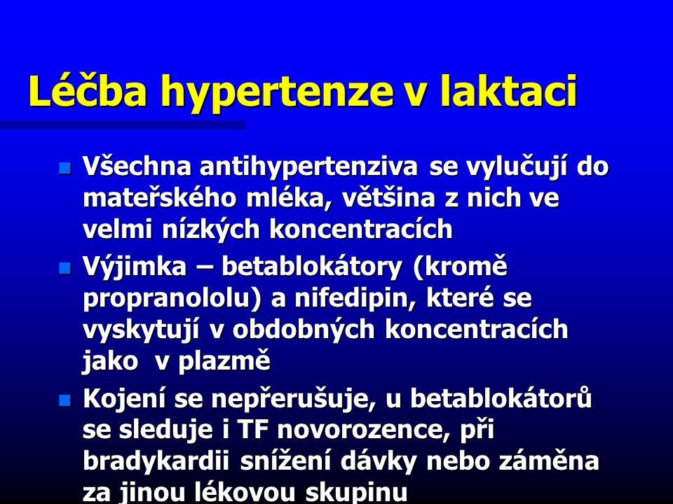 Léčba hypertenze v laktaci n Všechna antihypertenziva se vylučují do mateřského mléka, většina z nich ve velmi nízkých koncentracích n Výjimka – betablokátory (kromě propranololu) a nifedipin, které se vyskytují v obdobných koncentracích jako v plazmě n Kojení se nepřerušuje, u betablokátorů se sleduje i TF novorozence, při bradykardii snížení dávky nebo záměna za jinou lékovou skupinu