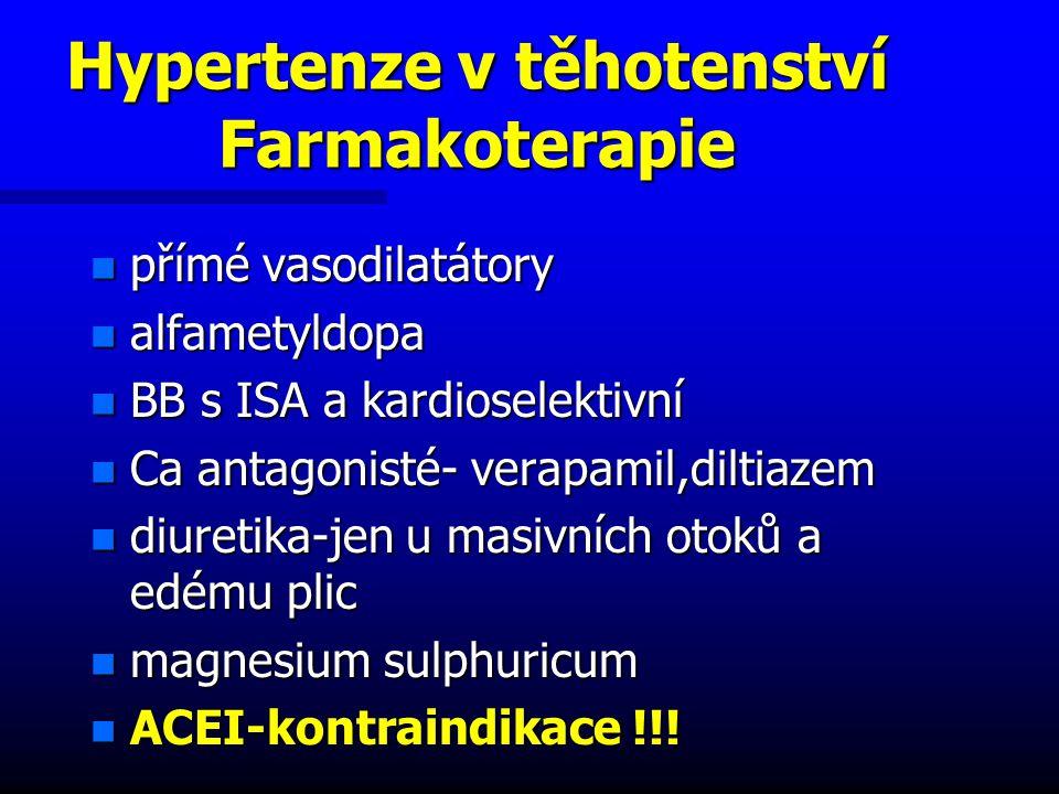 Hypertenze v těhotenství Farmakoterapie n přímé vasodilatátory n alfametyldopa n BB s ISA a kardioselektivní n Ca antagonisté- verapamil,diltiazem n diuretika-jen u masivních otoků a edému plic n magnesium sulphuricum n ACEI-kontraindikace !!!