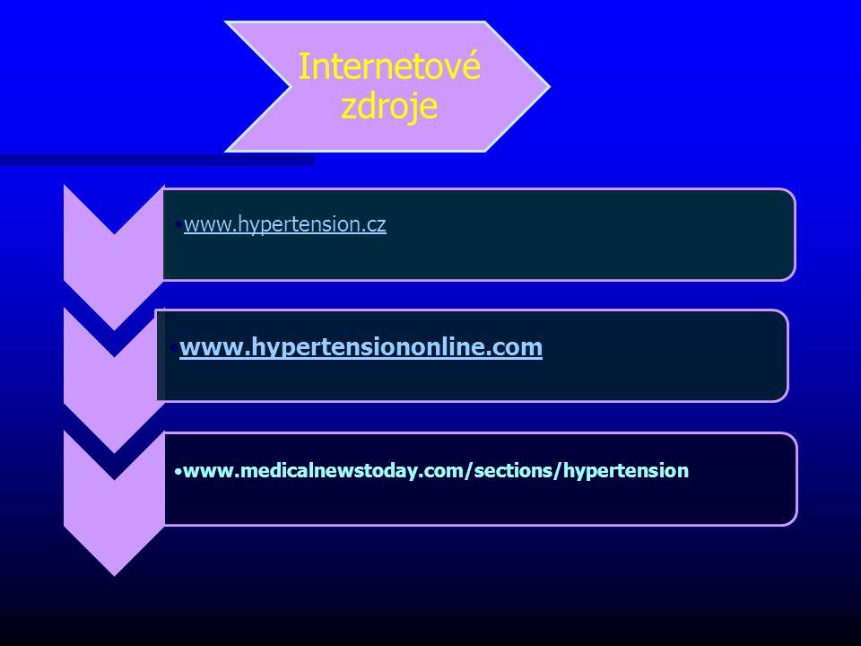 Internetové zdroje www.hypertension.cz www.hypertensiononline.com www.medicalnewstoday.com/sections/hypertension