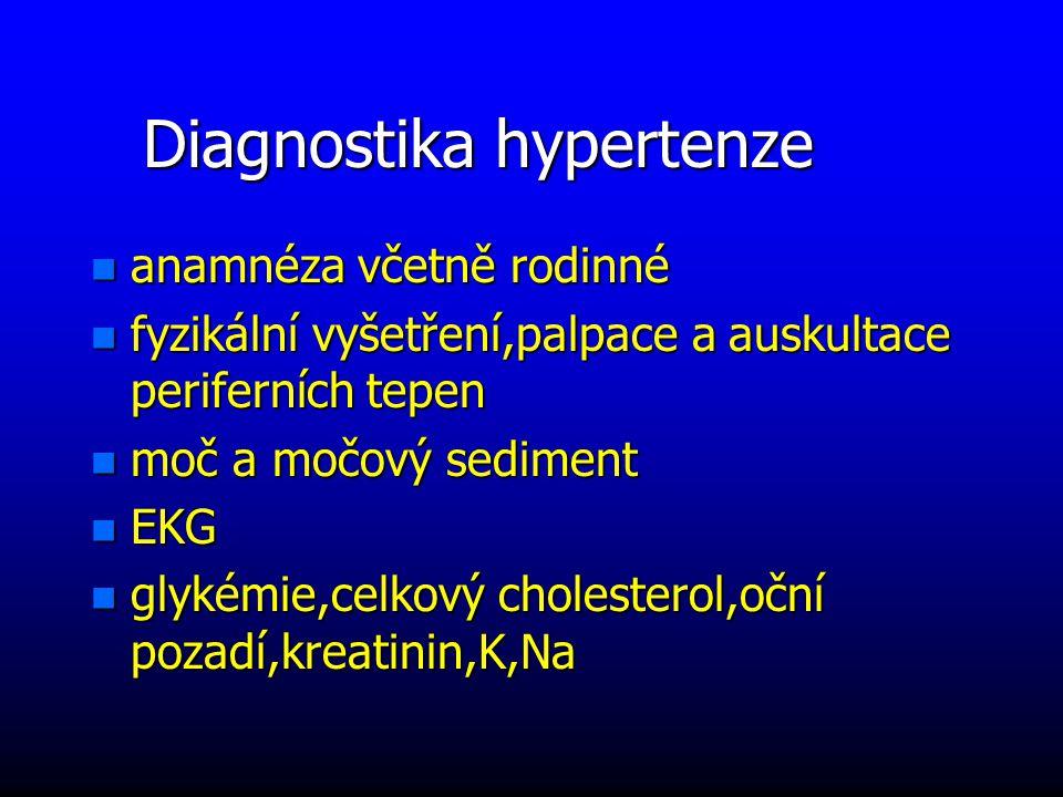 Diagnostika hypertenze n anamnéza včetně rodinné n fyzikální vyšetření,palpace a auskultace periferních tepen n moč a močový sediment n EKG n glykémie,celkový cholesterol,oční pozadí,kreatinin,K,Na