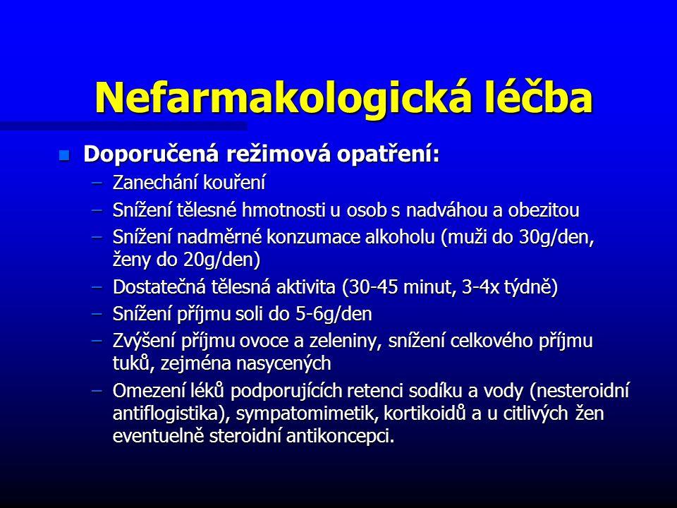 Nefarmakologická léčba n Doporučená režimová opatření: –Zanechání kouření –Snížení tělesné hmotnosti u osob s nadváhou a obezitou –Snížení nadměrné konzumace alkoholu (muži do 30g/den, ženy do 20g/den) –Dostatečná tělesná aktivita (30-45 minut, 3-4x týdně) –Snížení příjmu soli do 5-6g/den –Zvýšení příjmu ovoce a zeleniny, snížení celkového příjmu tuků, zejména nasycených –Omezení léků podporujících retenci sodíku a vody (nesteroidní antiflogistika), sympatomimetik, kortikoidů a u citlivých žen eventuelně steroidní antikoncepci.
