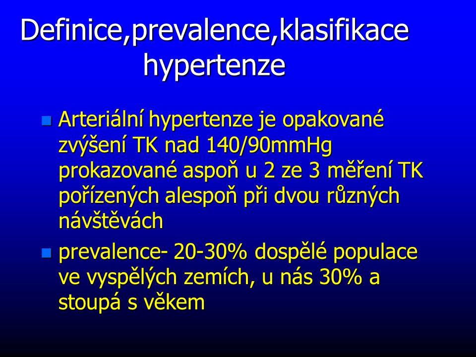 Definice,prevalence,klasifikace hypertenze n Arteriální hypertenze je opakované zvýšení TK nad 140/90mmHg prokazované aspoň u 2 ze 3 měření TK pořízených alespoň při dvou různých návštěvách n prevalence- 20-30% dospělé populace ve vyspělých zemích, u nás 30% a stoupá s věkem