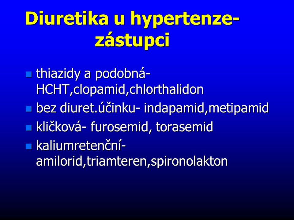 Diuretika u hypertenze- zástupci n thiazidy a podobná- HCHT,clopamid,chlorthalidon n bez diuret.účinku- indapamid,metipamid n kličková- furosemid, torasemid n kaliumretenční- amilorid,triamteren,spironolakton