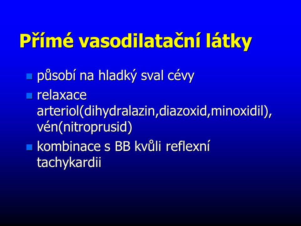 Přímé vasodilatační látky n působí na hladký sval cévy n relaxace arteriol(dihydralazin,diazoxid,minoxidil), vén(nitroprusid) n kombinace s BB kvůli reflexní tachykardii