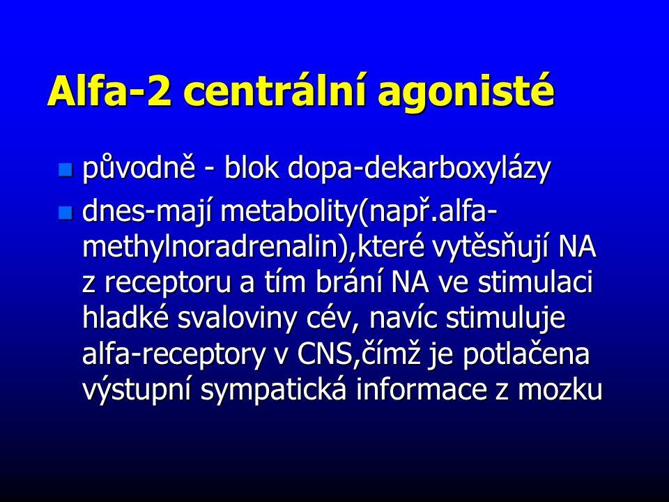 Alfa-2 centrální agonisté n původně - blok dopa-dekarboxylázy n dnes-mají metabolity(např.alfa- methylnoradrenalin),které vytěsňují NA z receptoru a tím brání NA ve stimulaci hladké svaloviny cév, navíc stimuluje alfa-receptory v CNS,čímž je potlačena výstupní sympatická informace z mozku