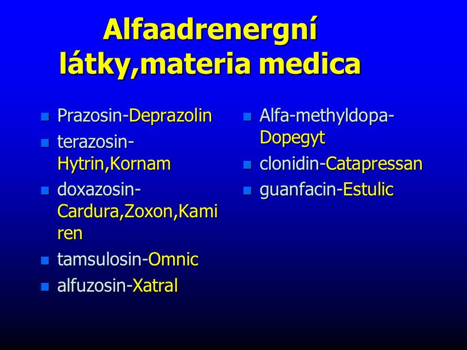 Alfaadrenergní látky,materia medica n Prazosin-Deprazolin n terazosin- Hytrin,Kornam n doxazosin- Cardura,Zoxon,Kami ren n tamsulosin-Omnic n alfuzosin-Xatral n Alfa-methyldopa- Dopegyt n clonidin-Catapressan n guanfacin-Estulic