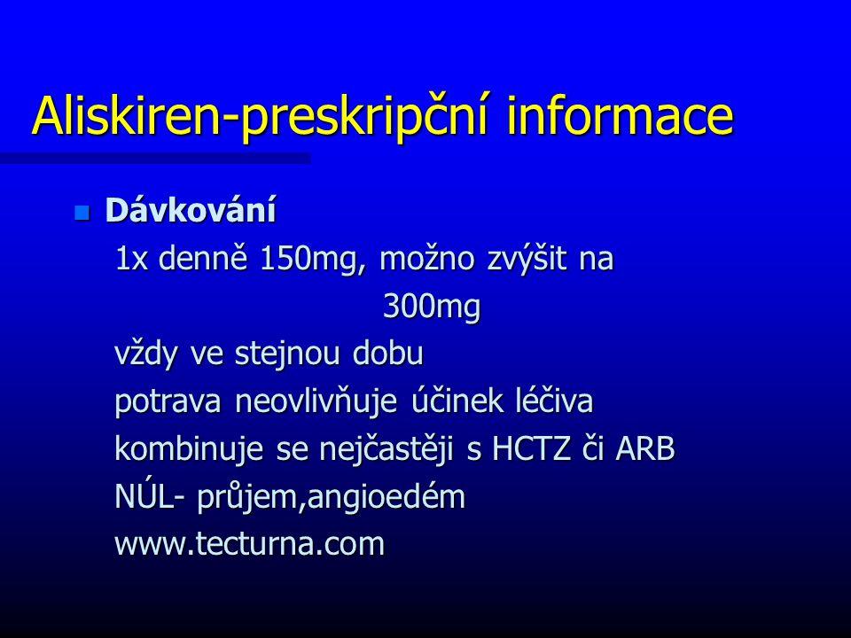 Aliskiren-preskripční informace n Dávkování 1x denně 150mg, možno zvýšit na 1x denně 150mg, možno zvýšit na 300mg 300mg vždy ve stejnou dobu vždy ve stejnou dobu potrava neovlivňuje účinek léčiva potrava neovlivňuje účinek léčiva kombinuje se nejčastěji s HCTZ či ARB kombinuje se nejčastěji s HCTZ či ARB NÚL- průjem,angioedém NÚL- průjem,angioedém www.tecturna.com www.tecturna.com