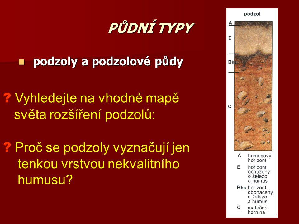 PŮDNÍ TYPY podzoly a podzolové půdy podzoly a podzolové půdy ? Vyhledejte na vhodné mapě světa rozšíření podzolů: ? Proč se podzoly vyznačují jen tenk