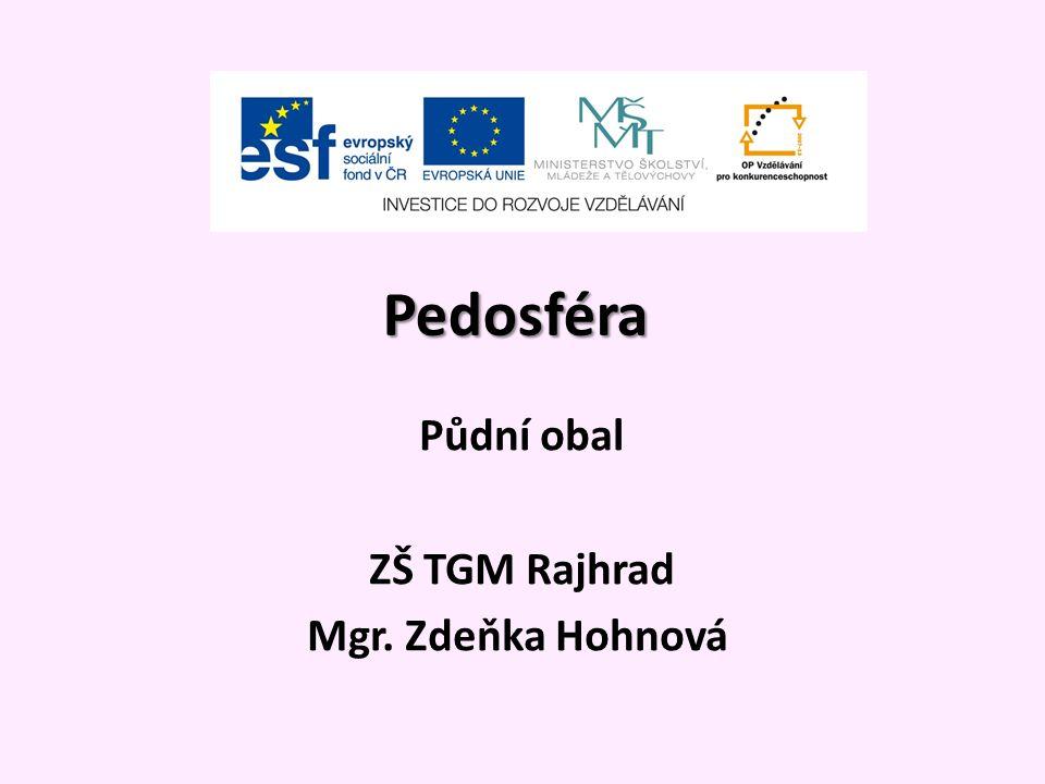 Pedosféra Půdní obal ZŠ TGM Rajhrad Mgr. Zdeňka Hohnová