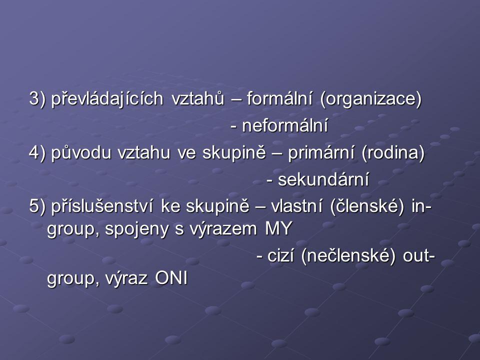 3) převládajících vztahů – formální (organizace) - neformální - neformální 4) původu vztahu ve skupině – primární (rodina) - sekundární - sekundární 5