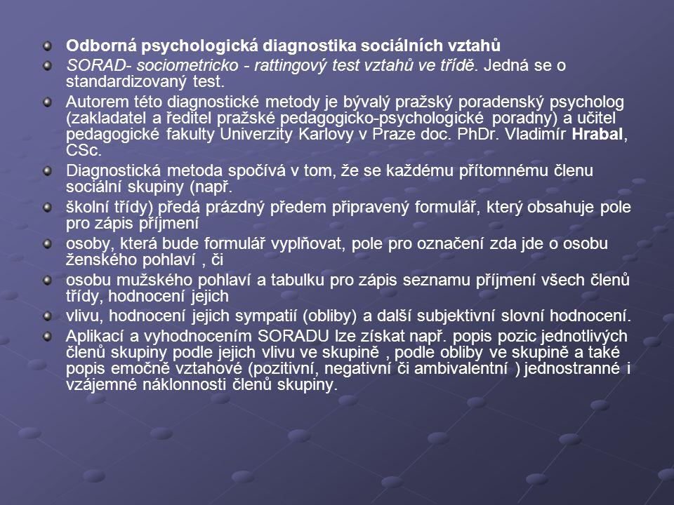 Odborná psychologická diagnostika sociálních vztahů SORAD- sociometricko - rattingový test vztahů ve třídě. Jedná se o standardizovaný test. Autorem t