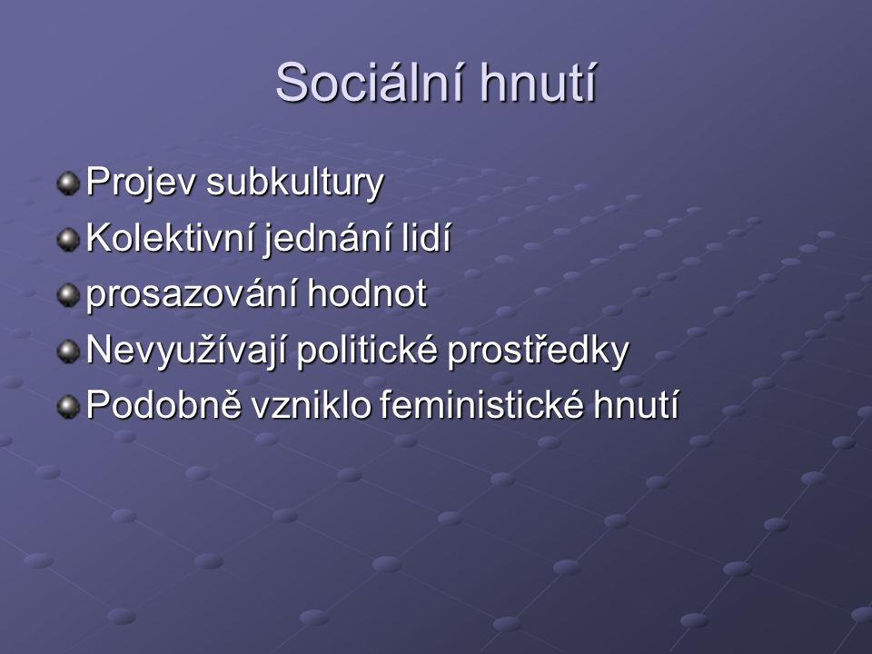 Sociální hnutí Projev subkultury Kolektivní jednání lidí prosazování hodnot Nevyužívají politické prostředky Podobně vzniklo feministické hnutí