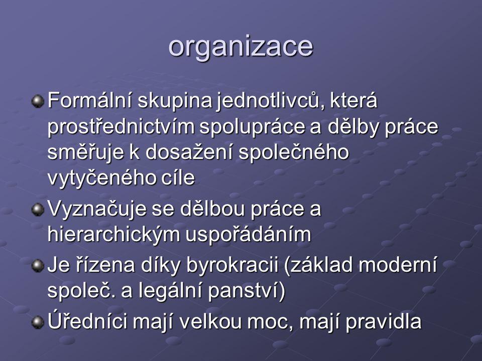 organizace Formální skupina jednotlivců, která prostřednictvím spolupráce a dělby práce směřuje k dosažení společného vytyčeného cíle Vyznačuje se děl