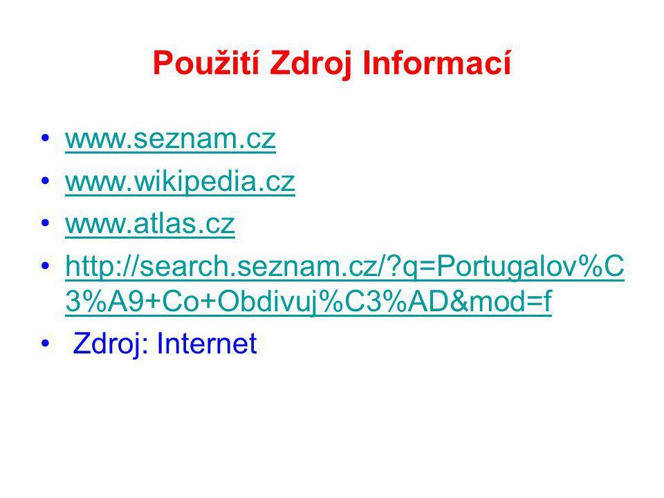 Použití Zdroj Informací www.seznam.cz www.wikipedia.cz www.atlas.cz http://search.seznam.cz/?q=Portugalov%C 3%A9+Co+Obdivuj%C3%AD&mod=fhttp://search.seznam.cz/?q=Portugalov%C 3%A9+Co+Obdivuj%C3%AD&mod=f Zdroj: Internet