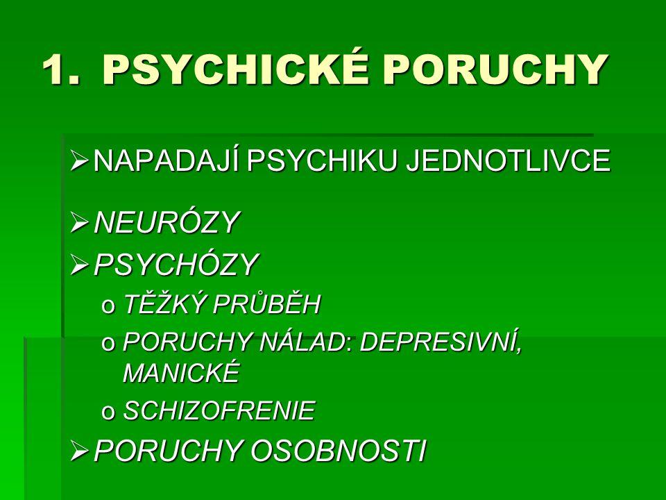 1.PSYCHICKÉ PORUCHY  NAPADAJÍ PSYCHIKU JEDNOTLIVCE  NEURÓZY  PSYCHÓZY oTĚŽKÝ PRŮBĚH oPORUCHY NÁLAD: DEPRESIVNÍ, MANICKÉ oSCHIZOFRENIE  PORUCHY OSO