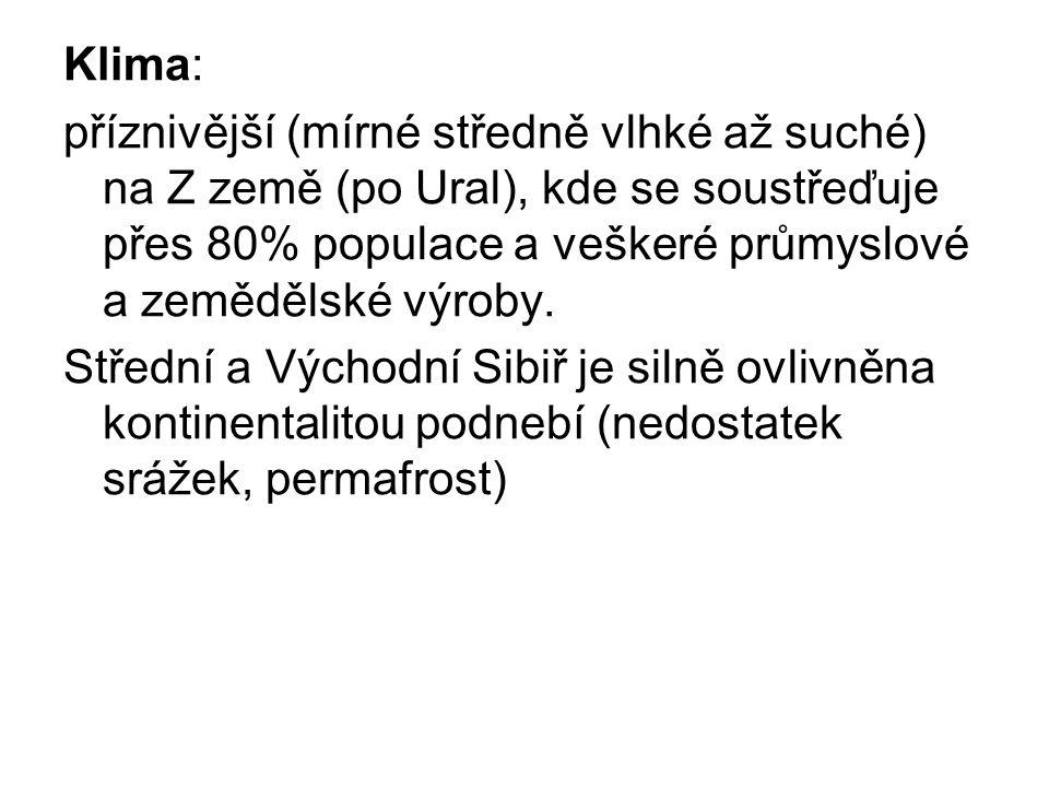 Obyvatelstvo: V Rusku žije asi 150 mil ob, které se soustředí do Evropské části a v asijské jen v úzkém pruhu kolem transsibiřské magistrály Více než 100 národů a národností - některé usilují o větší autonomii či úplnou samostatnost (Čečensko, Povolží, Něnci, Evenkové, Jakuti, Čukčové).