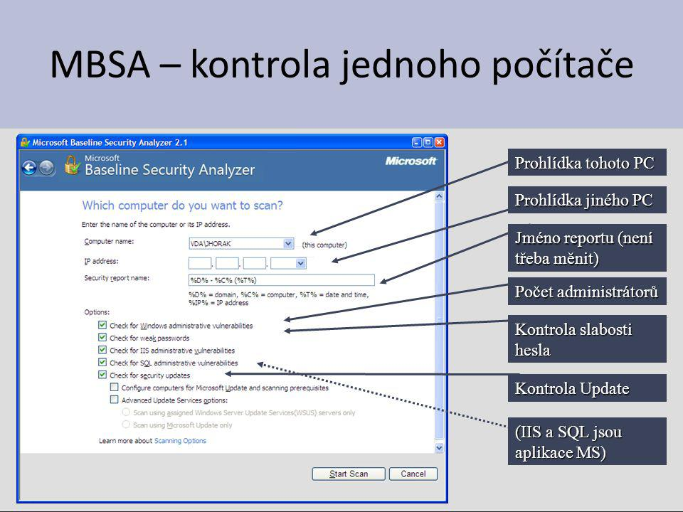 MBSA – kontrola jednoho počítače Prohlídka tohoto PC Prohlídka jiného PC Jméno reportu (není třeba měnit) Počet administrátorů Kontrola slabosti hesla