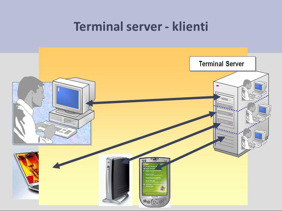 Terminálové služby Windows Terminálový server je zabudován ve Windows XP Professional, Vista a Server 2003, 2008 U desktopových operačních systémů je možné pouze jedno vzdálené připojení, přičemž se zamkne lokální konzole počítače – je možné pracovat buď z terminálu nebo místně – ne současně U Windows Serveru existují dva režimy: – Administrátorský, kdy je možné současné připojení 2 terminálových klientů (a současná běžná práce na PC) – Aplikační, kdy je možná současná práce více klientů, ale je nutné dokoupit licence (jinak provoz nefunguje) a na každého klienta počítat s 256 MB operační paměti na serveru