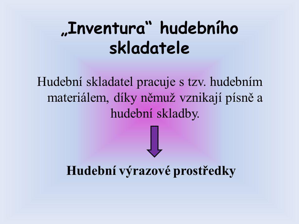 """""""Inventura"""" hudebního skladatele Hudební skladatel pracuje s tzv. hudebním materiálem, díky němuž vznikají písně a hudební skladby. Hudební výrazové p"""