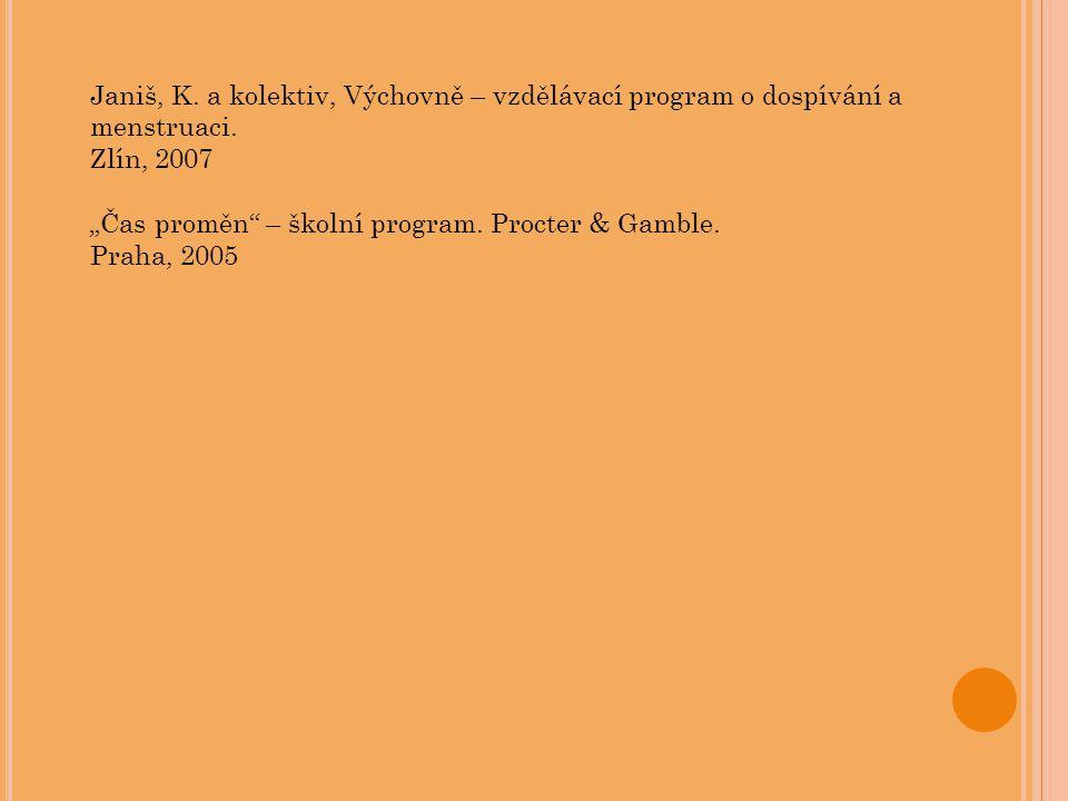 """Janiš, K. a kolektiv, Výchovně – vzdělávací program o dospívání a menstruaci. Zlín, 2007 """"Čas proměn"""" – školní program. Procter & Gamble. Praha, 2005"""
