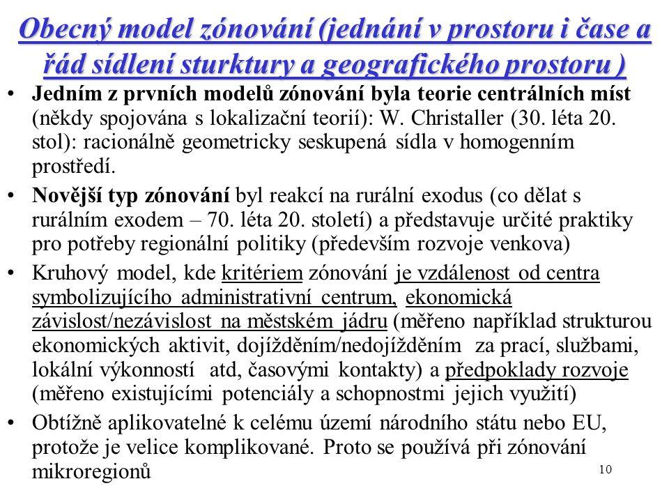 10 Obecný model zónování (jednání v prostoru i čase a řád sídlení sturktury a geografického prostoru ) Jedním z prvních modelů zónování byla teorie centrálních míst (někdy spojována s lokalizační teorií): W.