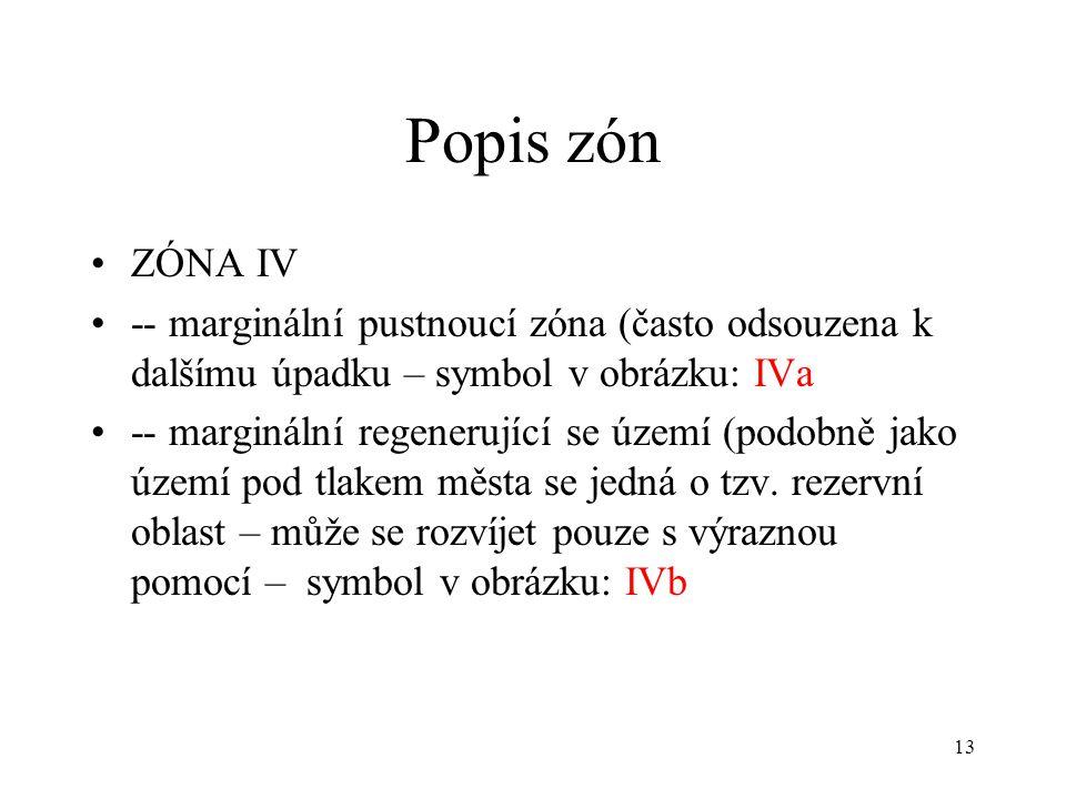 13 Popis zón ZÓNA IV -- marginální pustnoucí zóna (často odsouzena k dalšímu úpadku – symbol v obrázku: IVa -- marginální regenerující se území (podobně jako území pod tlakem města se jedná o tzv.
