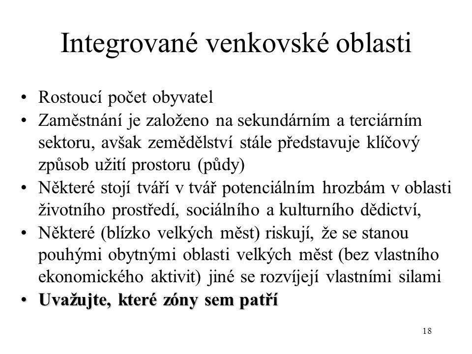 18 Integrované venkovské oblasti Rostoucí počet obyvatel Zaměstnání je založeno na sekundárním a terciárním sektoru, avšak zemědělství stále představu