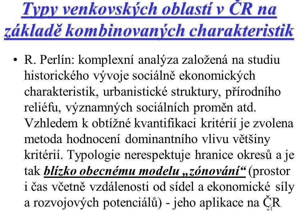 21 Typy venkovských oblastí v ČR na základě kombinovaných charakteristik R.