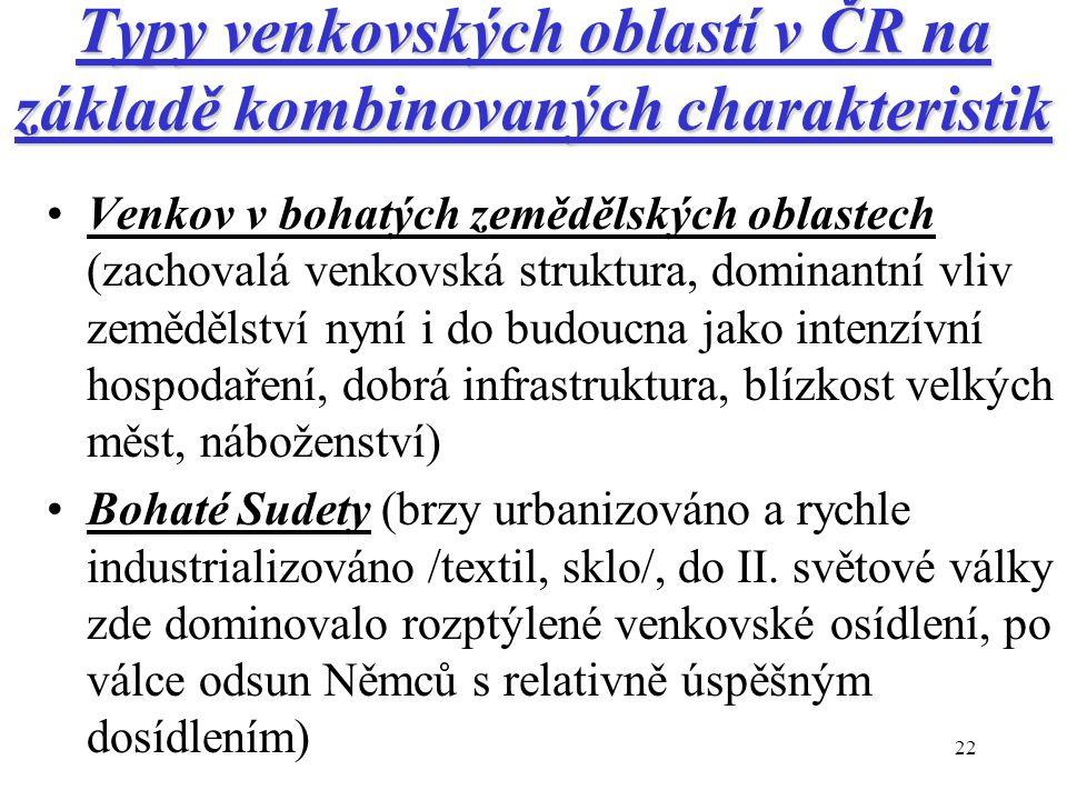 22 Typy venkovských oblastí v ČR na základě kombinovaných charakteristik Venkov v bohatých zemědělských oblastech (zachovalá venkovská struktura, domi