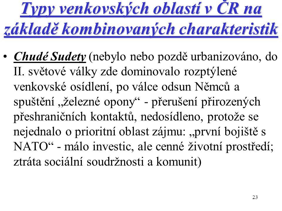 23 Typy venkovských oblastí v ČR na základě kombinovaných charakteristik Chudé Sudety (nebylo nebo pozdě urbanizováno, do II. světové války zde domino