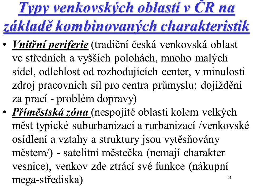 24 Typy venkovských oblastí v ČR na základě kombinovaných charakteristik Vnitřní periferie (tradiční česká venkovská oblast ve středních a vyšších polohách, mnoho malých sídel, odlehlost od rozhodujících center, v minulosti zdroj pracovních sil pro centra průmyslu; dojíždění za prací - problém dopravy) Příměstská zóna (nespojité oblasti kolem velkých měst typické suburbanizací a rurbanizací /venkovské osídlení a vztahy a struktury jsou vytěsňovány městem/) - satelitní městečka (nemají charakter vesnice), venkov zde ztrácí své funkce (nákupní mega-střediska)