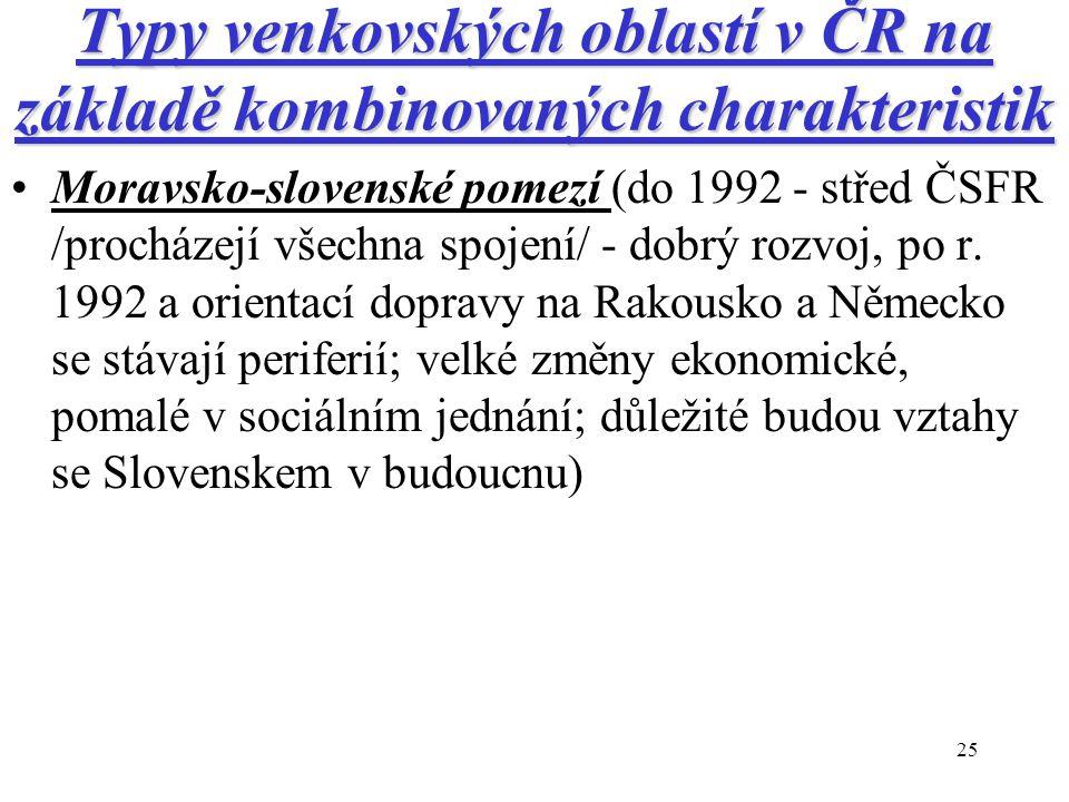 25 Typy venkovských oblastí v ČR na základě kombinovaných charakteristik Moravsko-slovenské pomezí (do 1992 - střed ČSFR /procházejí všechna spojení/ - dobrý rozvoj, po r.