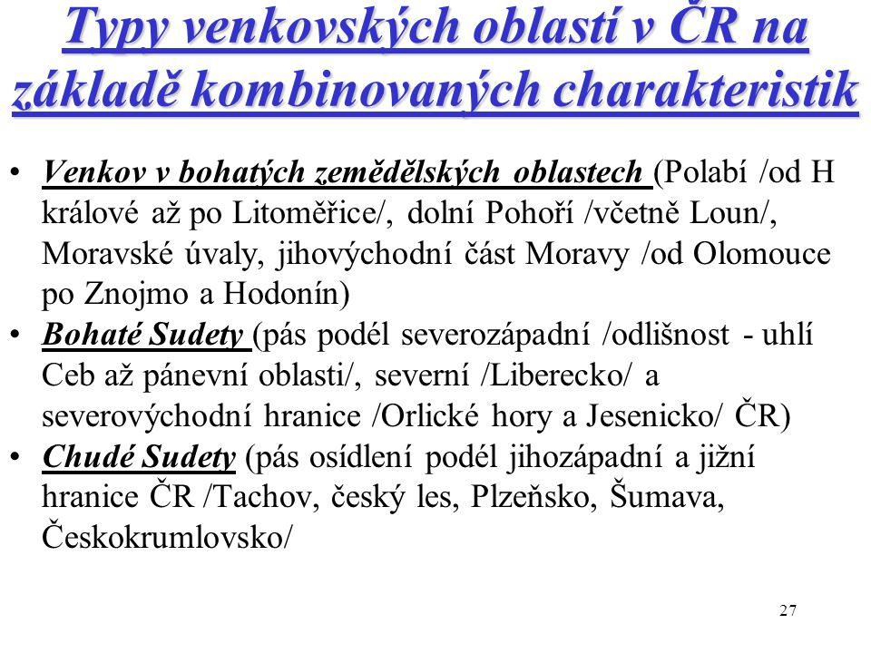 27 Typy venkovských oblastí v ČR na základě kombinovaných charakteristik Venkov v bohatých zemědělských oblastech (Polabí /od H králové až po Litoměři