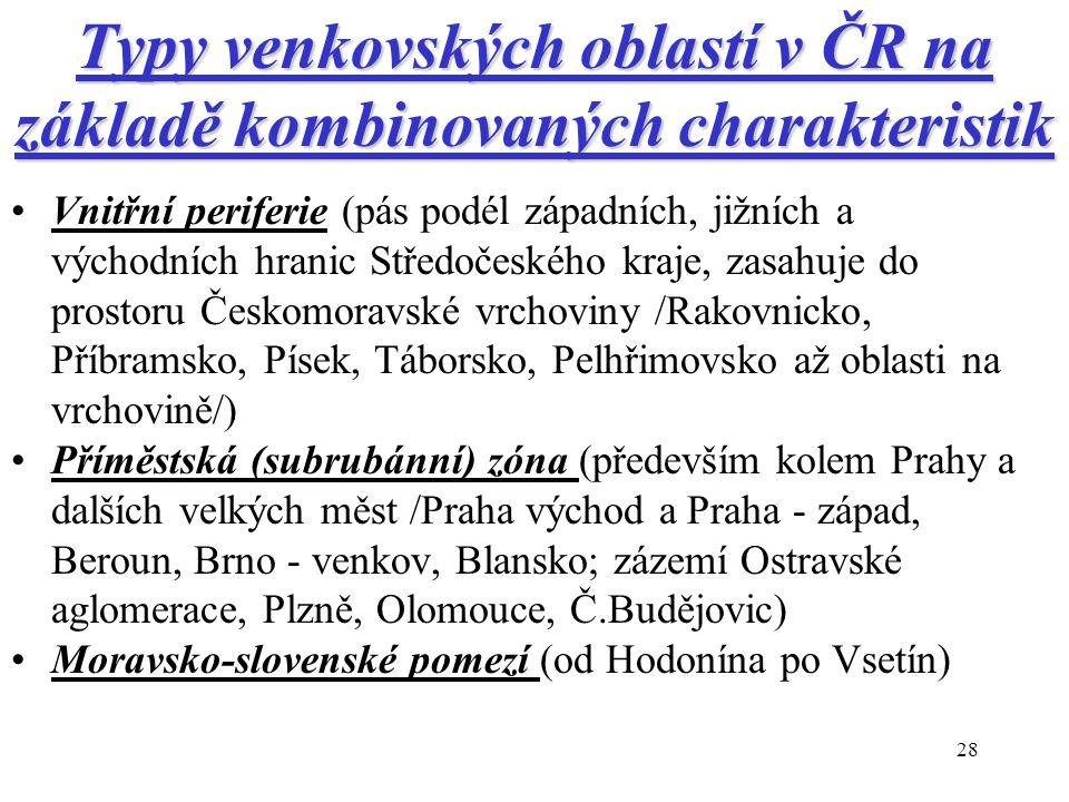 28 Typy venkovských oblastí v ČR na základě kombinovaných charakteristik Vnitřní periferie (pás podél západních, jižních a východních hranic Středočes