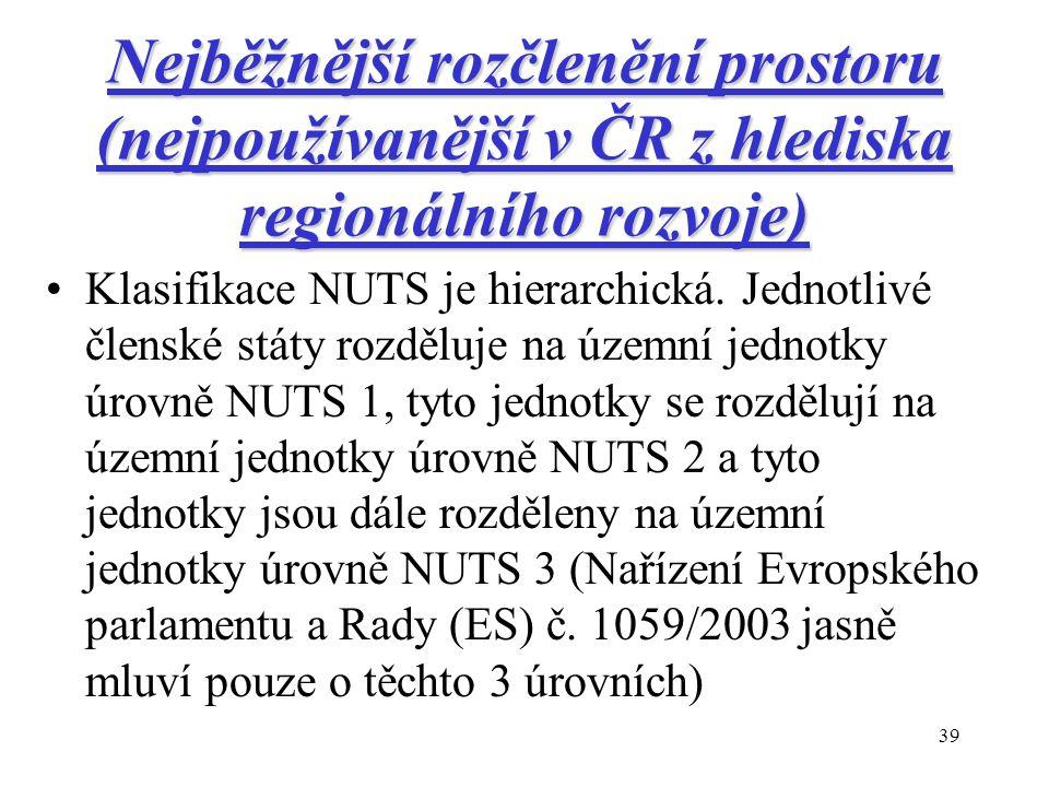 39 Nejběžnější rozčlenění prostoru (nejpoužívanější v ČR z hlediska regionálního rozvoje) Klasifikace NUTS je hierarchická.