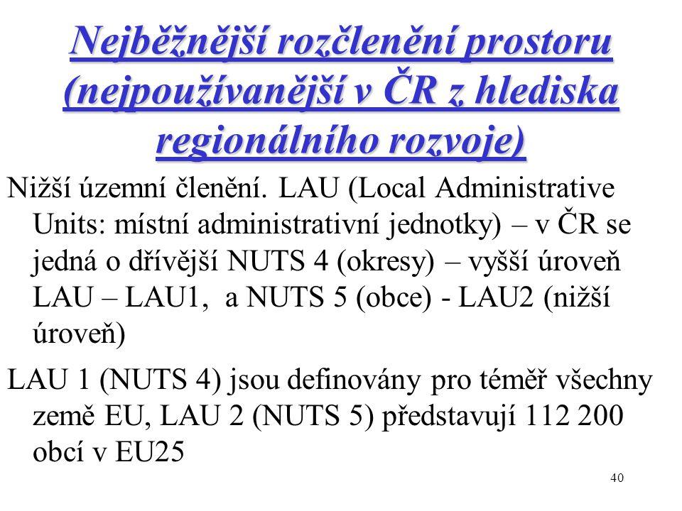 40 Nejběžnější rozčlenění prostoru (nejpoužívanější v ČR z hlediska regionálního rozvoje) Nižší územní členění.