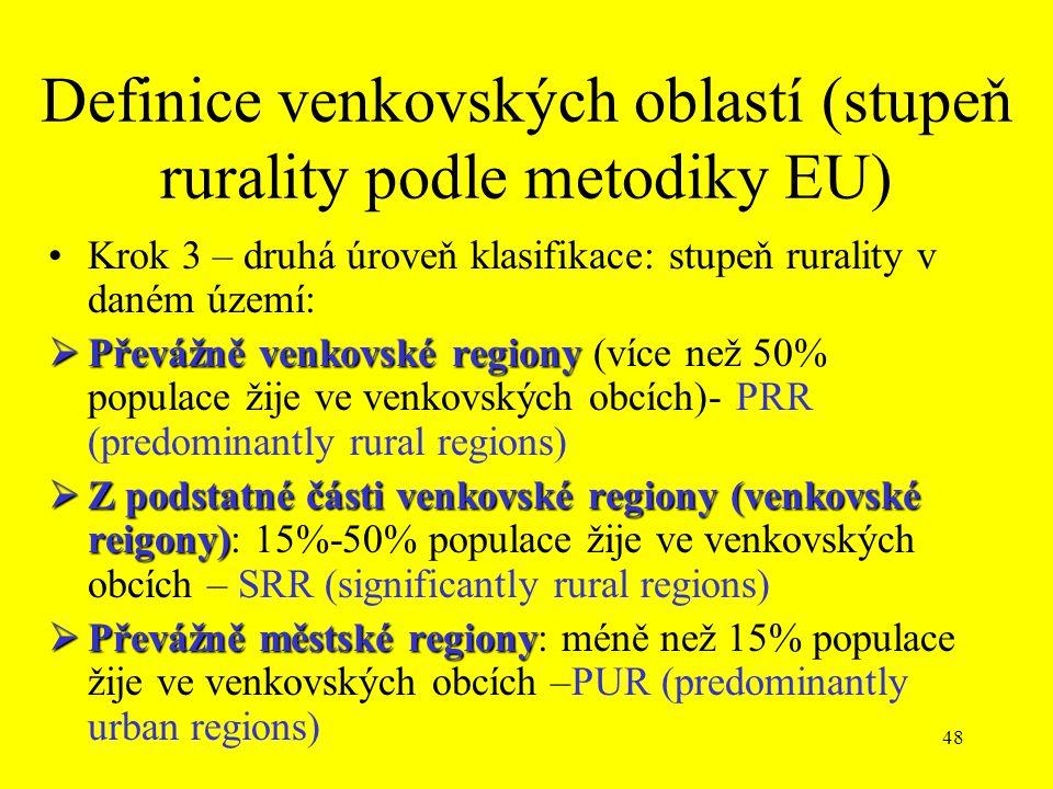48 Definice venkovských oblastí (stupeň rurality podle metodiky EU) Krok 3 – druhá úroveň klasifikace: stupeň rurality v daném území:  Převážně venkovské regiony  Převážně venkovské regiony (více než 50% populace žije ve venkovských obcích)- PRR (predominantly rural regions)  Z podstatné části venkovské regiony (venkovské reigony)  Z podstatné části venkovské regiony (venkovské reigony): 15%-50% populace žije ve venkovských obcích – SRR (significantly rural regions)  Převážně městské regiony  Převážně městské regiony: méně než 15% populace žije ve venkovských obcích –PUR (predominantly urban regions)