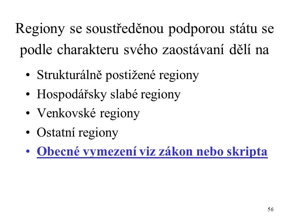 56 Regiony se soustředěnou podporou státu se podle charakteru svého zaostávaní dělí na Strukturálně postižené regiony Hospodářsky slabé regiony Venkov
