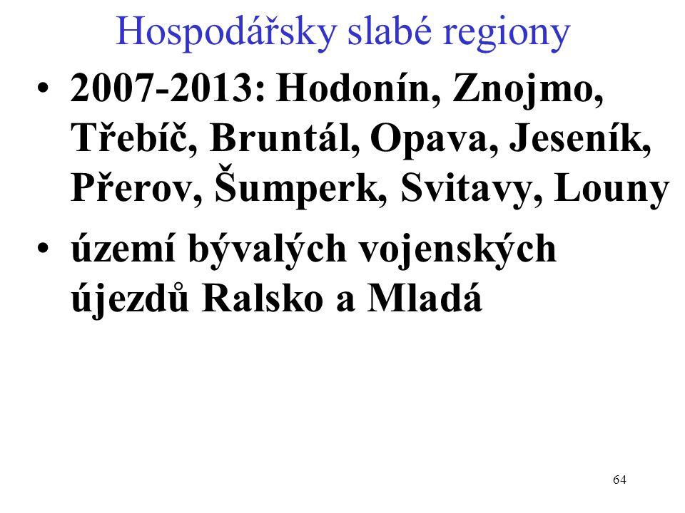 64 Hospodářsky slabé regiony 2007-2013: Hodonín, Znojmo, Třebíč, Bruntál, Opava, Jeseník, Přerov, Šumperk, Svitavy, Louny území bývalých vojenských újezdů Ralsko a Mladá