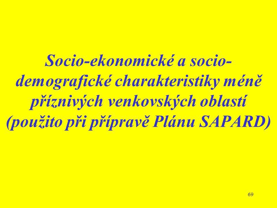 69 Socio-ekonomické a socio- demografické charakteristiky méně příznivých venkovských oblastí (použito při přípravě Plánu SAPARD)