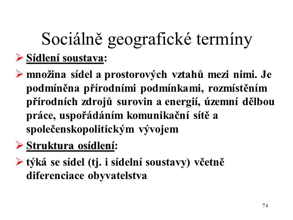 74 Sociálně geografické termíny  Sídlení soustava  Sídlení soustava:  množina sídel a prostorových vztahů mezi nimi. Je podmíněna přírodními podmín