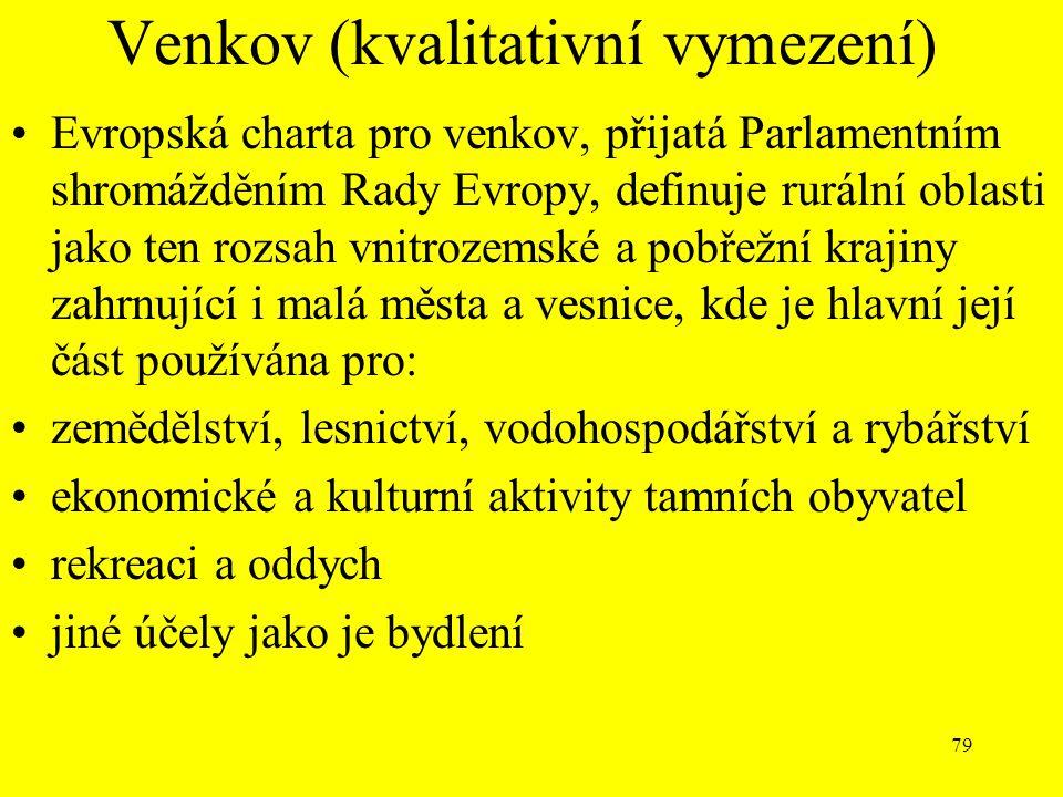 79 Venkov (kvalitativní vymezení) Evropská charta pro venkov, přijatá Parlamentním shromážděním Rady Evropy, definuje rurální oblasti jako ten rozsah