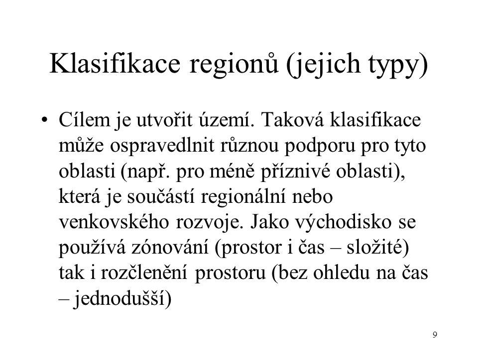 9 Klasifikace regionů (jejich typy) Cílem je utvořit území. Taková klasifikace může ospravedlnit různou podporu pro tyto oblasti (např. pro méně přízn